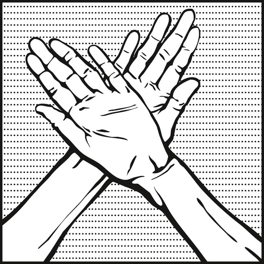 Bild: zwei ausgestreckte Hände über Kreuz gehalten