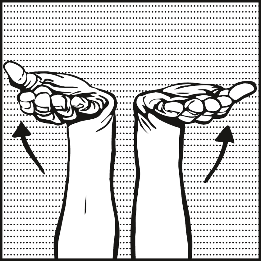 Bild: zwei Hände mit Handflächen nach oben, Pfeile unter Handflächen zeigen nach oben