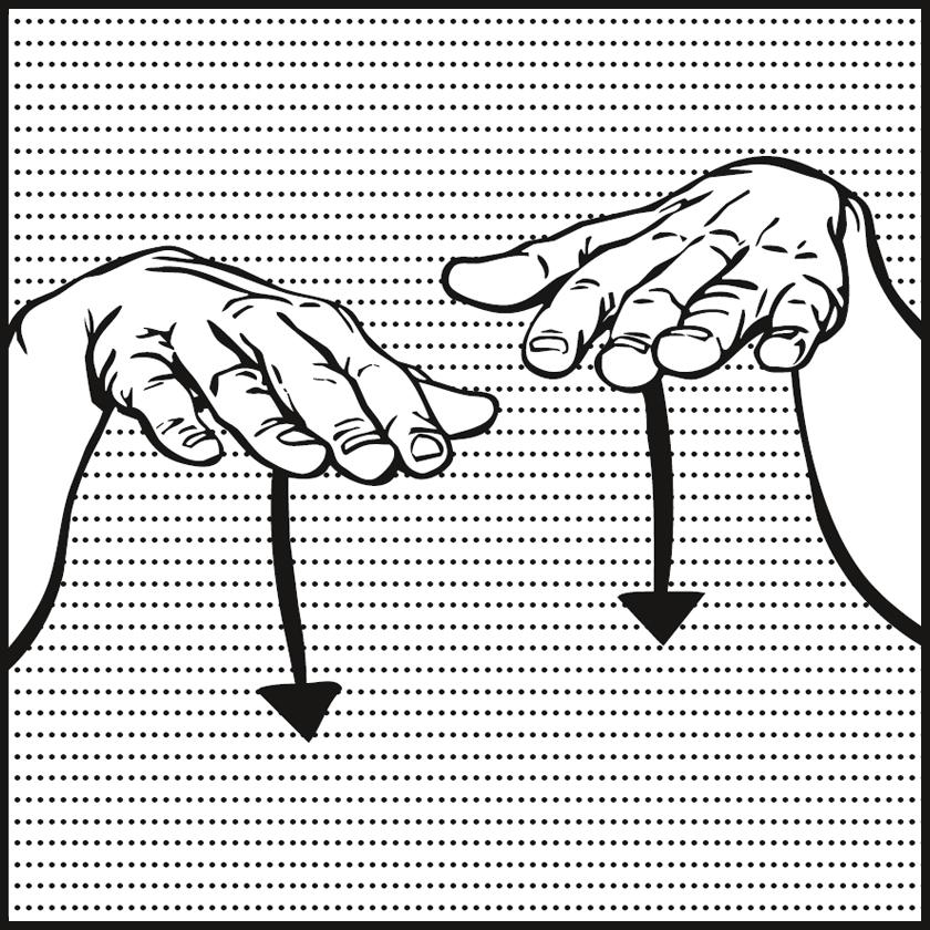 Bild: zwei Hände mit Handflächen nach unten, Pfeile unter Handflächen zeigen nach unten