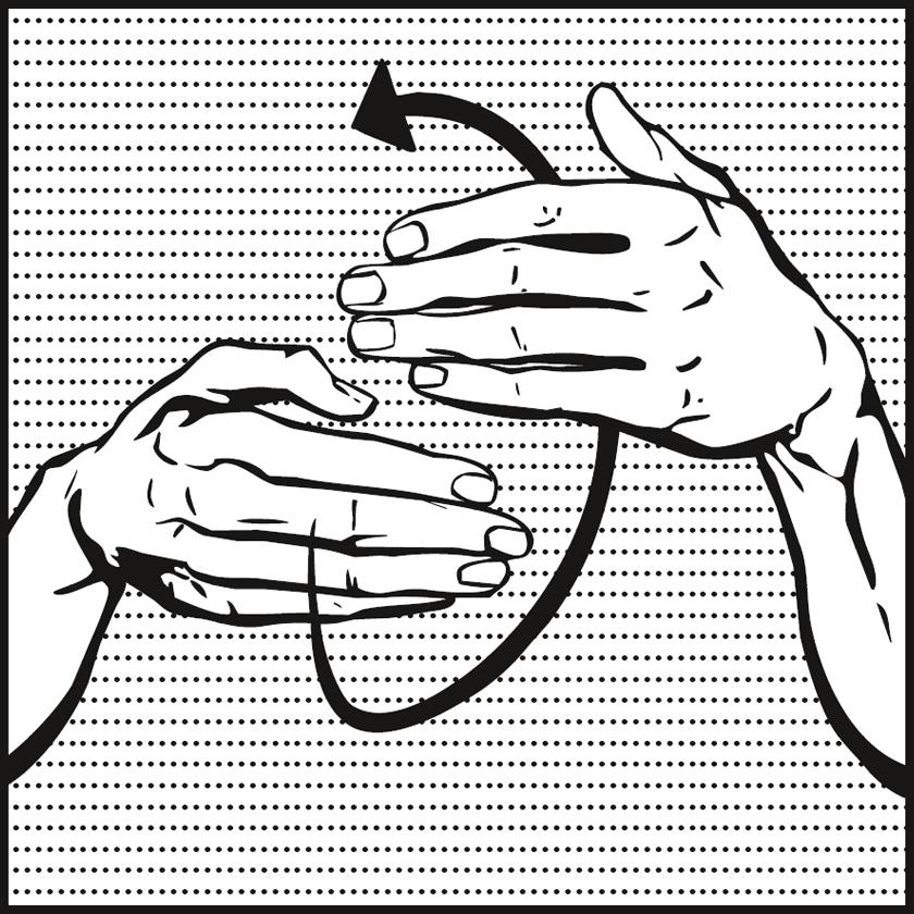 Bild: zwei Hände zeigen mit den Fingerspitzen versetzt zueinander, Pfeil kreisförmig um Finger