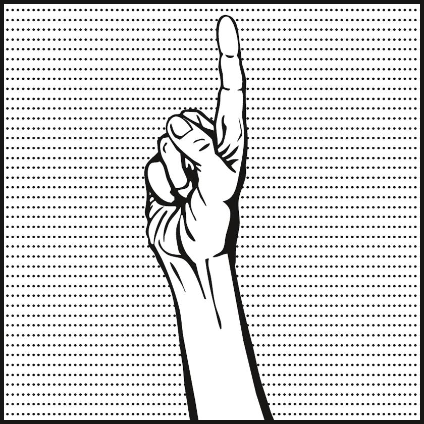 Bild: hochgehaltene Hand mit ausgestrecktem Zeigefinger