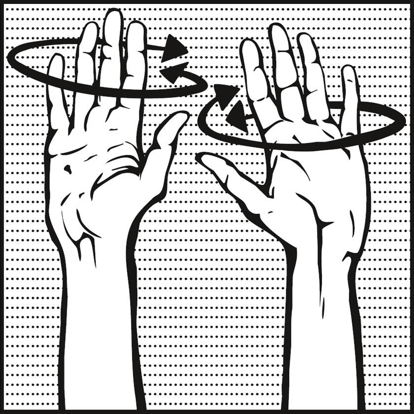 Bild: zwei in die Luft gehaltene Hände, um die Finger Pfeile in Kreisform